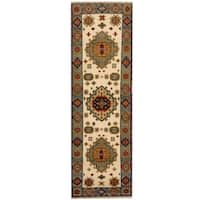 Handmade Herat Oriental Indo Tribal Kazak Wool Runner (India) - 2'2 x 6'10