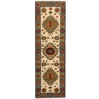 Handmade Herat Oriental Indo Tribal Kazak Wool Runner - 2'2 x 6'10 (India)