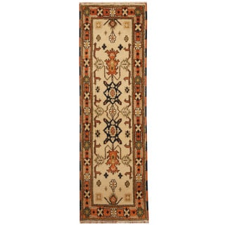 Herat Oriental Indo Hand-knotted Tribal Kazak Ivory/ Orange Wool Runner (2' x 6'7)