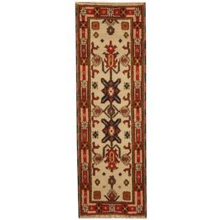 Handmade Herat Oriental Indo Tribal Kazak Wool Runner - 2'2 x 6'6 (India)