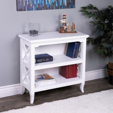 Handmade Butler Newport Glossy White Wood Low Bookcase