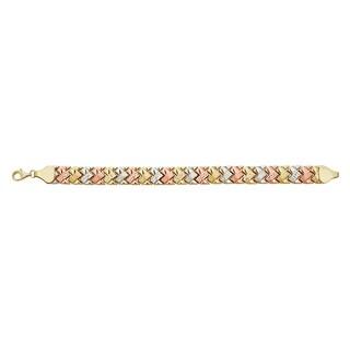 Decadence 14k Gold Diamond-cut Satin Fancy Link Bracelet