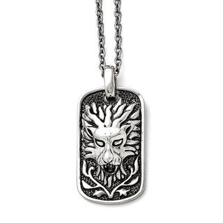 Versil Stainless Steel Polished and Antiqued 22-inch Lion Dog Tag Necklace