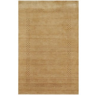 Herat Oriental Indo Hand-loomed Tribal Gabbeh Beige Wool Rug (4' x 6')
