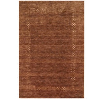 Herat Oriental Indo Hand-loomed Tribal Gabbeh Brown Wool Rug (4' x 6')