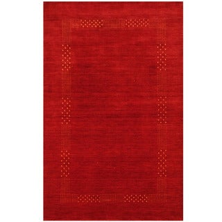 Herat Oriental Indo Hand-loomed Tribal Gabbeh Red Wool Rug (4' x 6')