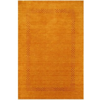 Herat Oriental Indo Hand-loomed Tribal Gabbeh Gold Wool Rug (4' x 6')