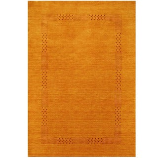 Herat Oriental Indo Hand-loomed Tribal Gabbeh Gold Wool Rug (6'6 x 9')
