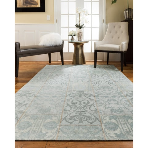 Natural Area Rugs Handmade Vintage Oriental Bluemoon Polyester Rectangle Rug (5'X8') Blue - 5' x 8'