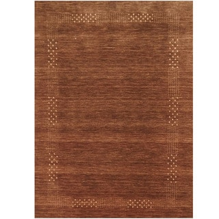 Herat Oriental Indo Hand-loomed Tribal Gabbeh Brown Wool Rug (6'6 x 9')