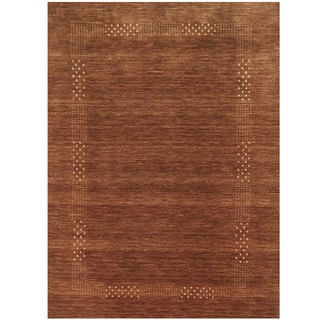Herat Oriental Indo Hand-loomed Tribal Gabbeh Brown Wool Rug (5'8 x 8')