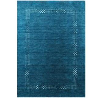 Herat Oriental Indo Hand-loomed Tribal Gabbeh Blue Wool Rug (5'8 x 8')