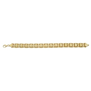 Decadence 14k Yellow Gold Star Diamond Cut 7.25-inch Interlocking Bracelet