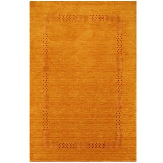 Herat Oriental Indo Hand-loomed Tribal Gabbeh Gold Wool Rug (5'8 x 8')