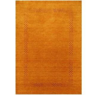 Herat Oriental Indo Hand-loomed Tribal Gabbeh Gold Wool Rug (8' x 10')