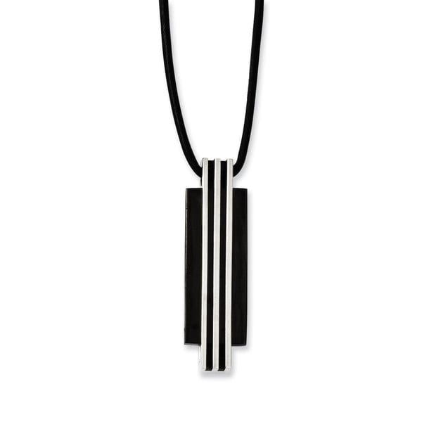 Chisel Stainless Steel, Black IP-plated Rubber Cord Necklace