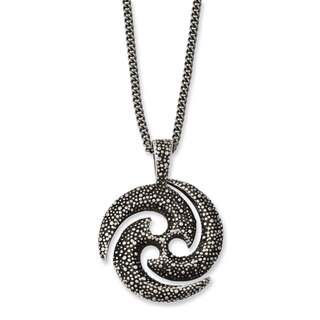 Versil Stainless-steel Antiqued Textured Circle 22-inch Necklace