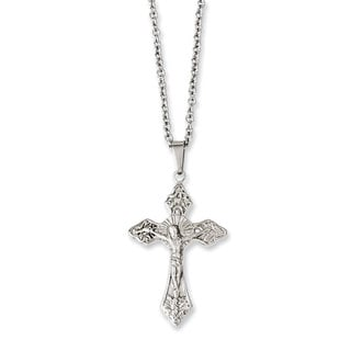 Versil Stainless Steel 18-inch Crucifix Pendant Necklace
