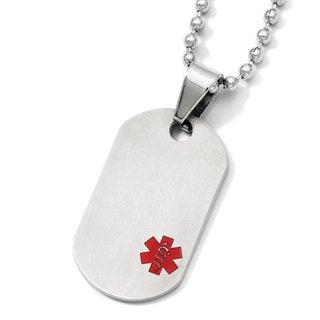 Versil Chisel White Stainless Steel/Titanium 20-inch Medical Jewelry Dog-Tag Pendant Necklace