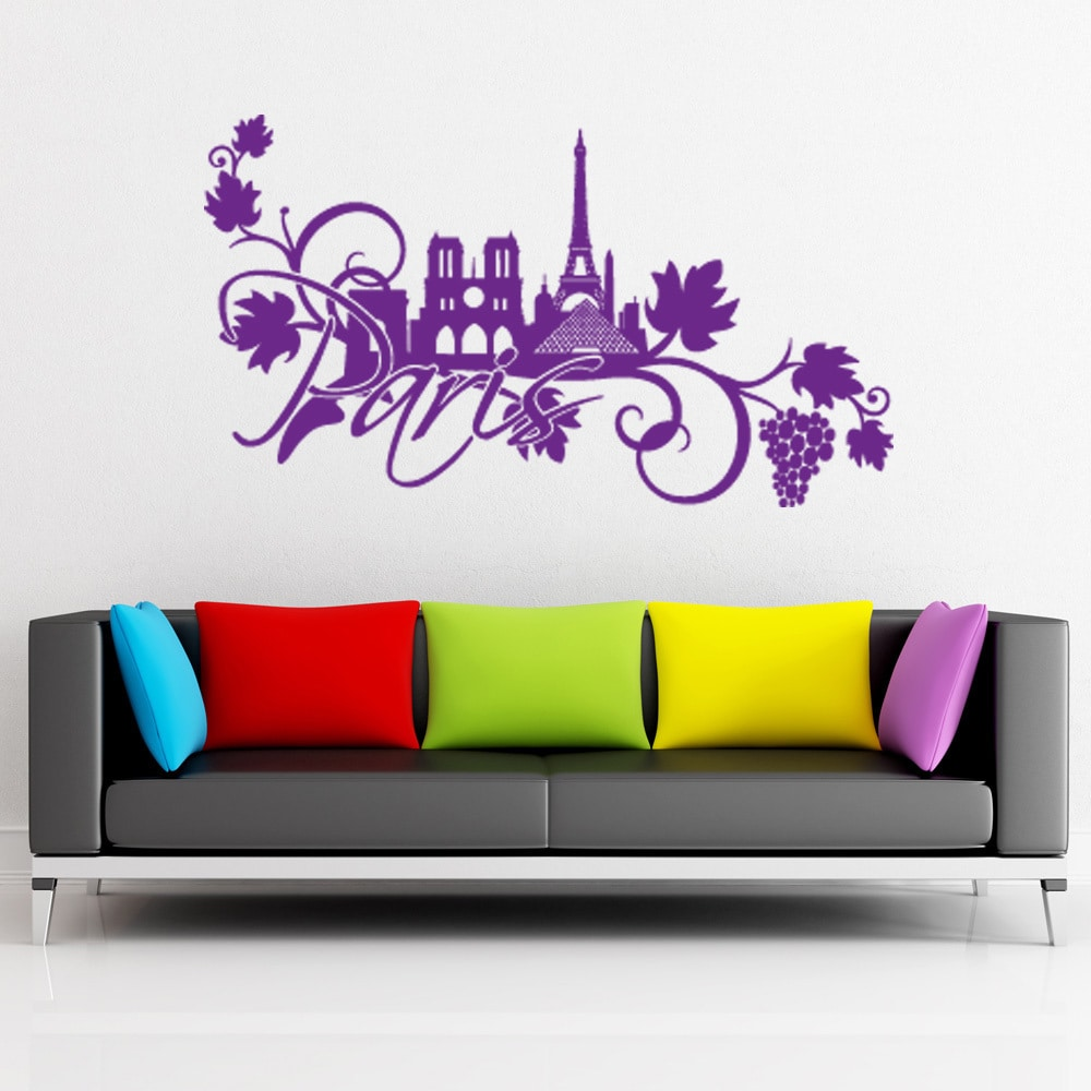 S&A Paris Floral Vinyl Wall Decal and Sticker Mural Art H...