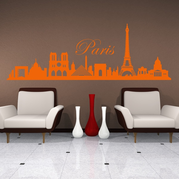 Style and Apply Paris City Skyline Vinyl Wall Decal