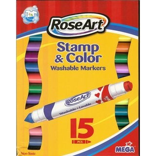 Rose Art Stamp and Color Double-ended Washable Markers (Pack of 15)