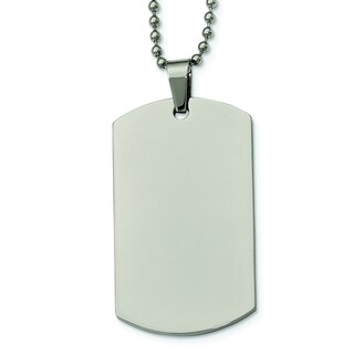 Versil Polished Stainless Steel 2-millimeter Dog Tag Necklace With 24-inch Ball Chain