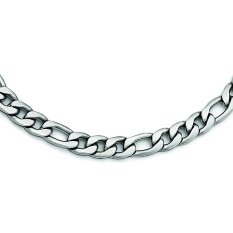Versil Chisel Men's Stainless Steel 18-inch Satin Figaro Chain Necklace