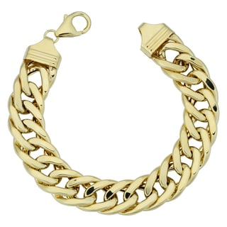 Fremda Italian 14k Yellow Gold High Polish Semi Solid Curb Link Bracelet (7.5 inches)