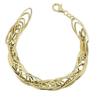 Fremada Italian 14k Yellow Gold High Polish Twisted Marquise Link 7.5-inch Bracelet