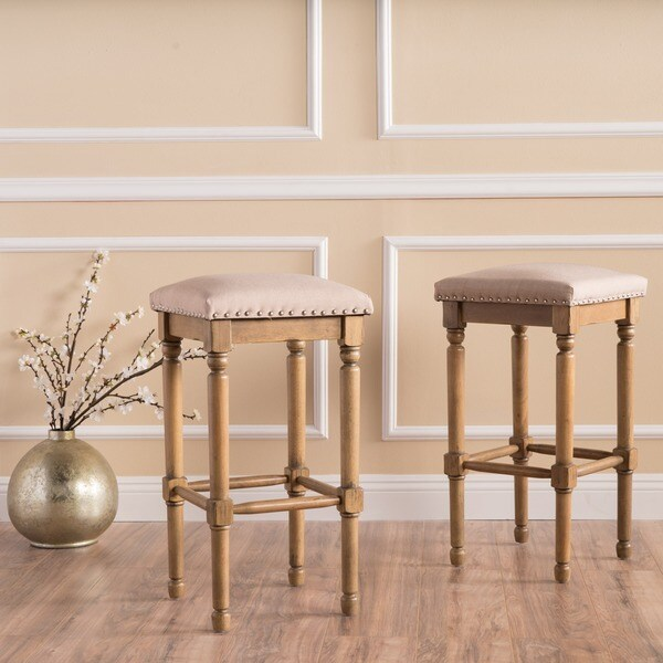 Shop Osvald 27 Inch Studded Fabric Counter Stool By Christopher