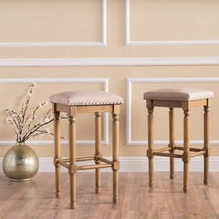Osvald 27-inch Studded Fabric Counter Stool by Christopher Knight Home (Set of 2)