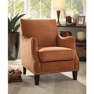 Anna Houndstooth Rust Accent Chair 14089665 Overstock