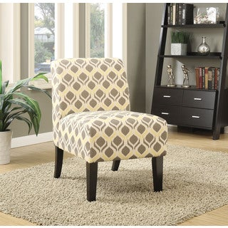 Bon Ollano Grey And Yellow Patterned Fabric Accent Chair