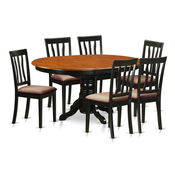 rubberwood 7 piece dining room set with dining table and 6 chairs