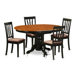 Traditional Cherry or Black Finish Solid Rubberwood 5-piece Dining Set with Oval Avon Table and Four Antique Chairs