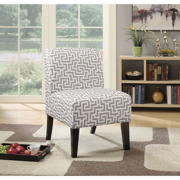 Shop Ollano Grey Patterned Fabric Accent Chair Free