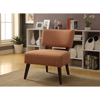 Orange Fabric & Espresso Able Accent Chair