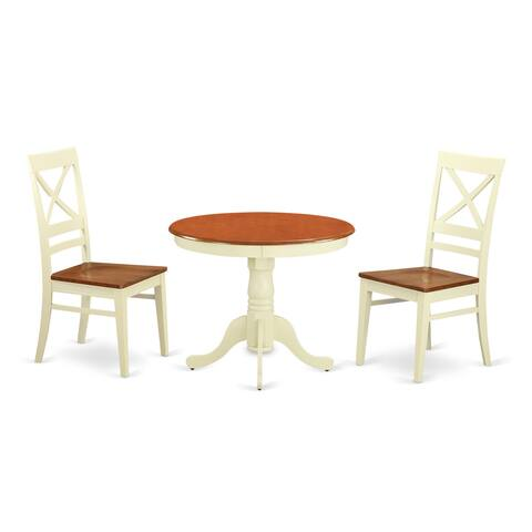 Antique Dining Set with 3 Pieces with 2 Solid Wood Chairs