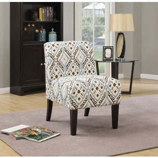Ollano Multi-color Fabric, Foam, Wood Print Accent Chair