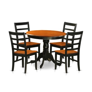 Antique Dining Furniture Set with 5 Pieces with 4 Chairs in Black Finish