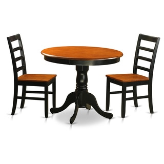 Antique Dining Furniture Set with 3 Pieces with 2 Chairs in Black and Cherry Finish