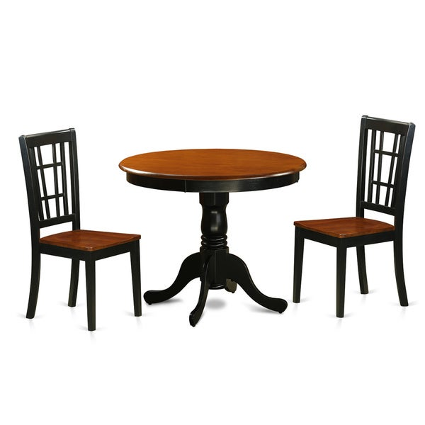 Black And Cherry Round Table And Two Dinette Chair 3 Piece: Shop Antique 3-piece Dining Table With 2 Chairs Finished