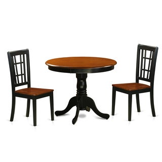 Antique 3-piece Dining Table with 2 Chairs Finished in Black and Cherry