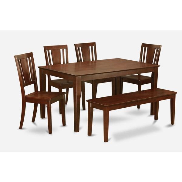 CADU6C-MAH Mahogany Rubberwood 6-piece Kitchen Table With