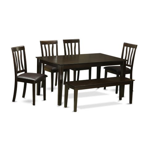 Cappuccino Rubberwood 6-piece Dining Room Set with Rectangular Dining Table, 4 Chairs, and 1 Dining Bench