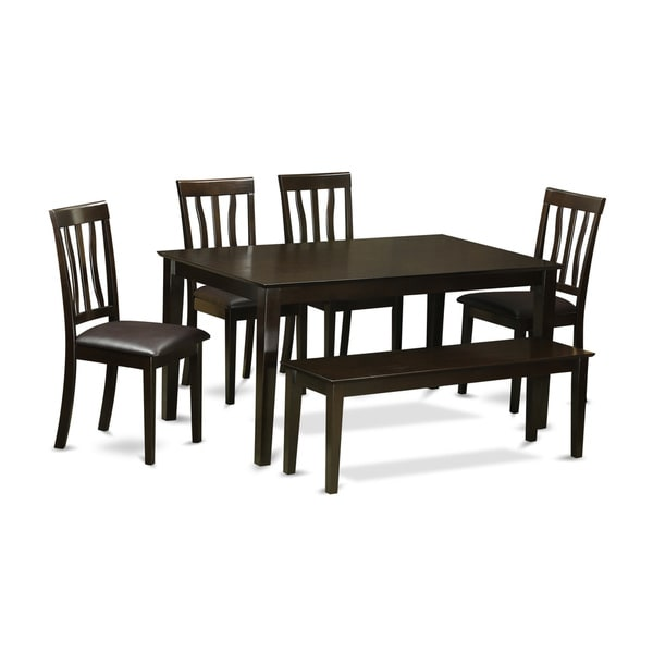 Rubberwood 6 Piece Dining Room Set With Rectangular Dining Table