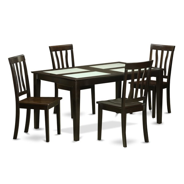 Capri Cappuccino Finish Solid Rubberwood 5 Piece Formal Dining Set With Glass