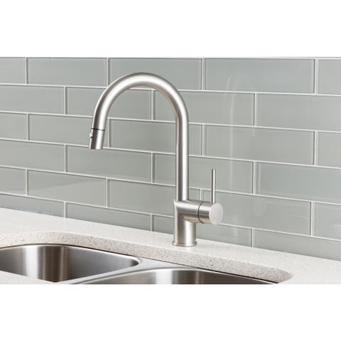 Hahn Stainless Steel/Solid Brass Ultra-modern Single Lever Pull-down Kitchen Faucet - Silver