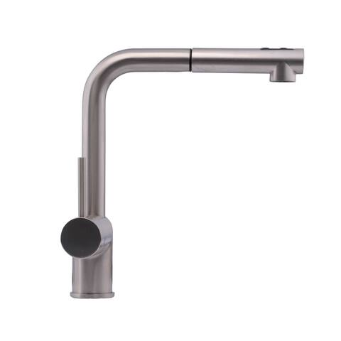 Hahn Chrome Ultra-Modern Duo Single-lever Pull-out Kitchen Faucet - Silver